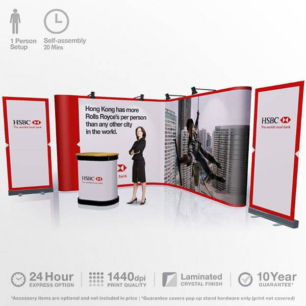 Exhibition Booth Requirements : Corner pop up display booth stand banner