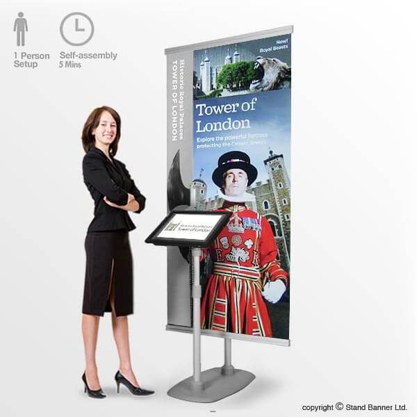 Free Standing TV Banner Stand Display Video System