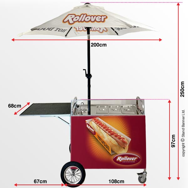 Mobile Street Hod Dog Cart Dimensions