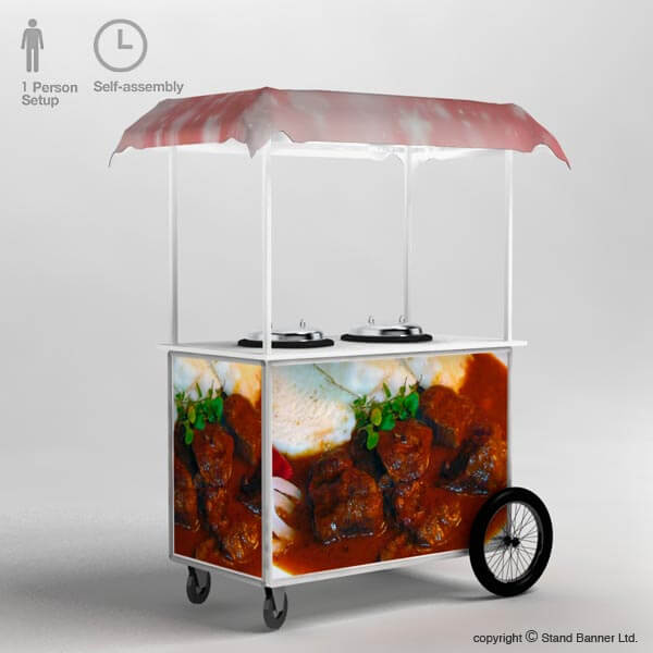 Mobile Hot Food Vending Cart Counter Trolley