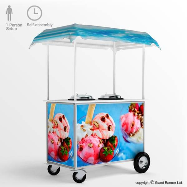 Mobile Ice Cream Vending Cart Counter Trolley