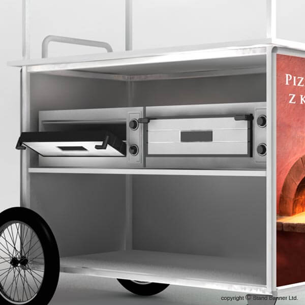 Mobile Pizza Vending Cart Counter Trolley - Rear View Ovens
