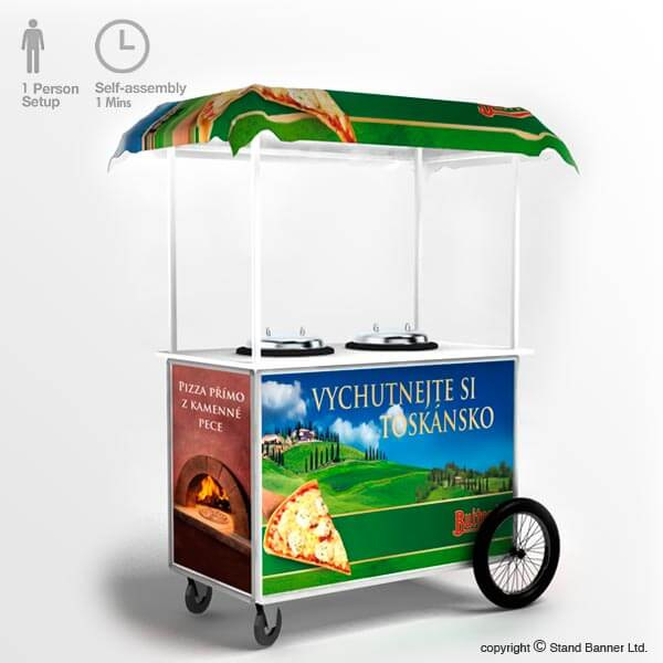 Mobile Pizza Vending Cart Counter Trolley