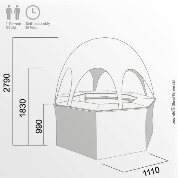Portable Pop Up Bar Vending Tent Schematic Drawing