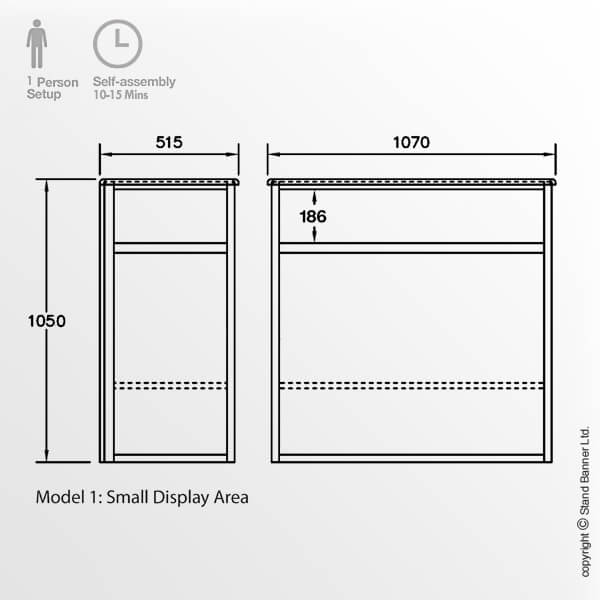 Exhibition Display Case Dimensions Model 1