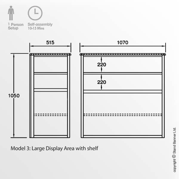 Exhibition Display Case Dimensions Model 3