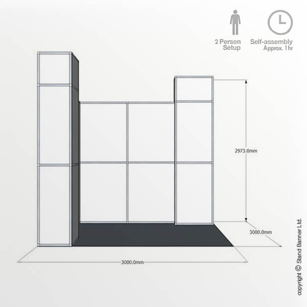 Exhibition Stand Drawing : 3m x 3m exhibition stand trade show booth