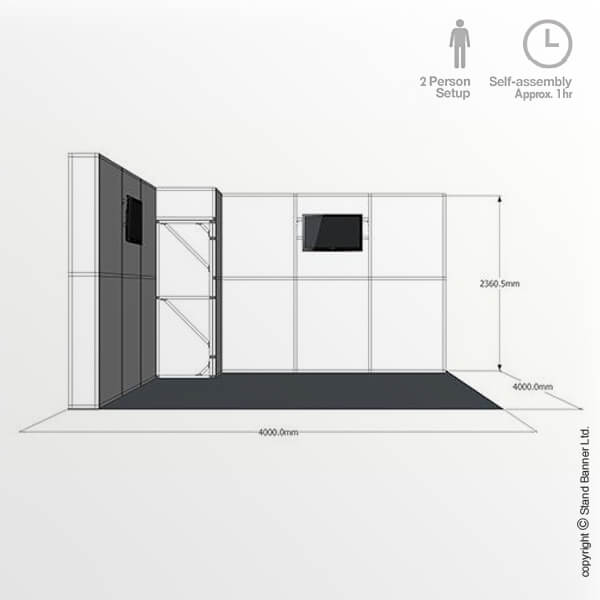 4m x 4m Trade Show Stand Side View