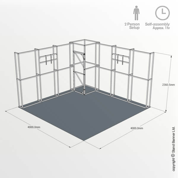4m x 4m Trade Show Stand Dimensions