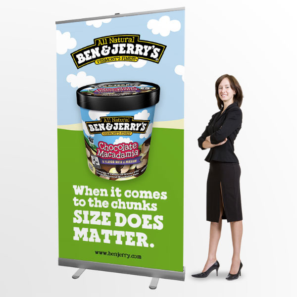 pull up display banner stands 1m wide