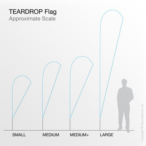 Teardrop Flag to Scale