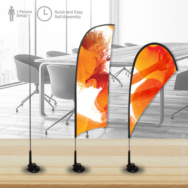 Suction Cup Advertising Flag on Desk