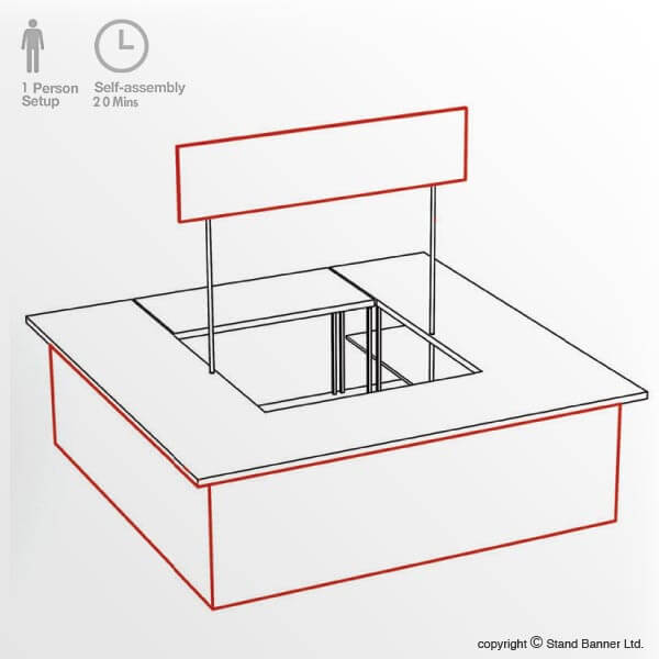 Large Promotional Sales Counter - Isometric Drawing