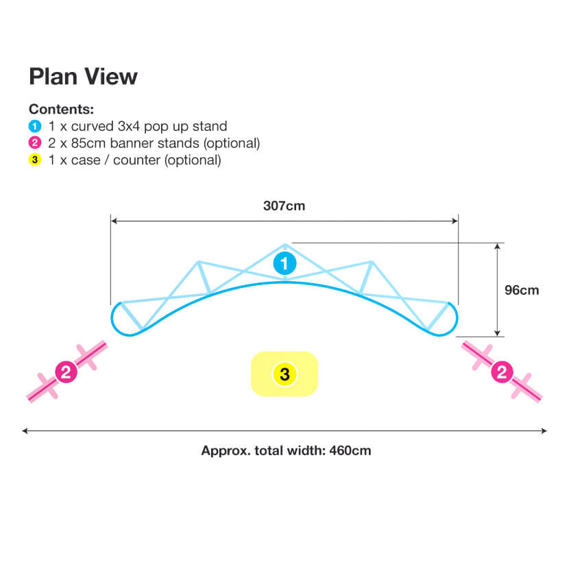 3x4 Pop Up Stand Plan View
