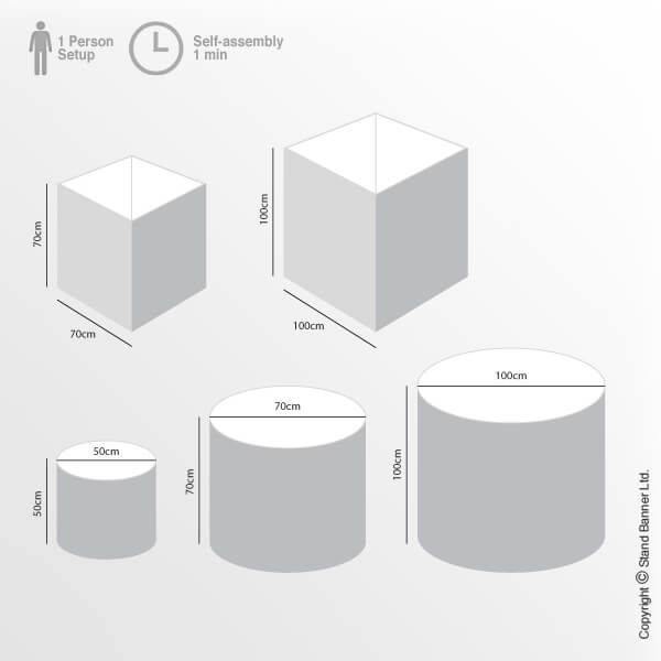 Branded Fabric Container Bin Sizes