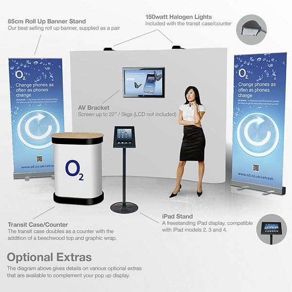 Corner Pop Up Display Booth Stand Banner