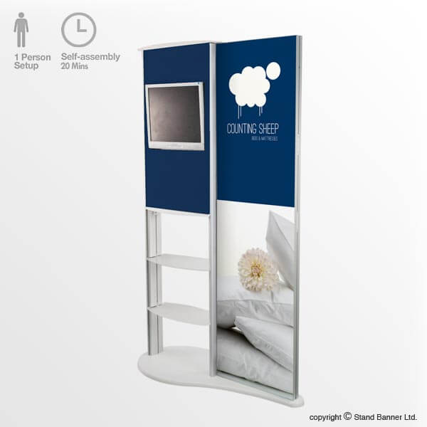 Marketing Exhibition Stand Xo : Freestanding video marketing stand p o s display system